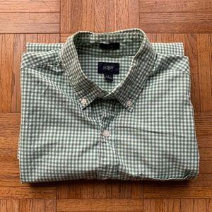 J. Crew Slim Fit Men's Green White Gingham Shirt S
